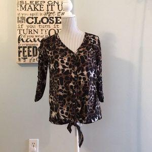 Verve Ami Leopard Print Blouse Button Up Tie Front